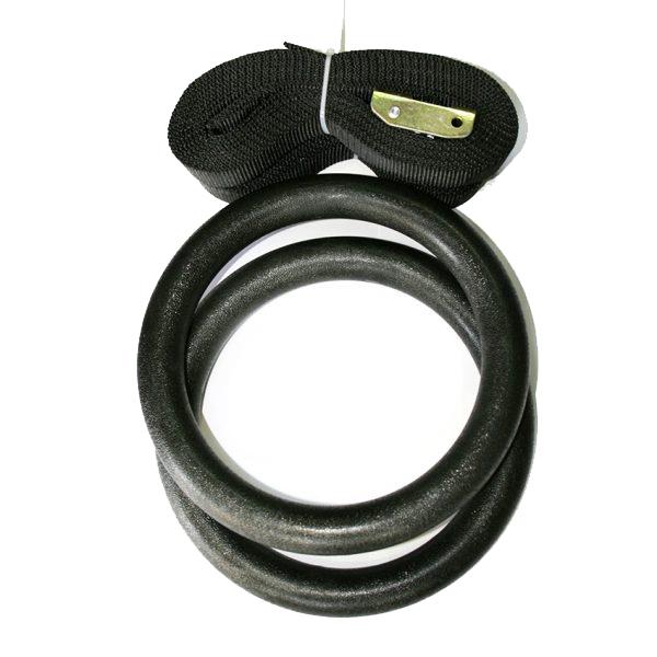 PVC халки за гимнастика / IRONINSIDE - изработени от подсилена пластика. Халките са с диаметър 18-20 cm, всяка една от които виси от собствен колан.