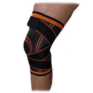Оранжево-черна спортна ортеза за коляно на марката IRON INSIDE